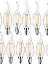 2w e14 светодиодные лампы накаливания ca35 2 cob 190 lm теплый белый декоративный ac 220-240 v 12 шт.