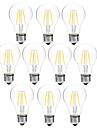 4W Ampoules a Filament LED A60(A19) 4 COB 300 lm Blanc Chaud Blanc Intensite Reglable V 10 pieces