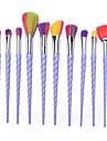 10 Pcs Warna Oval Dan Fan Profesional Makeup Brushes Set Dengan Alis Eyeliner Eyeshadow Bubuk Highlighter