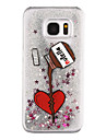For Samsung Galaxy S8 Plus S8 Phone Case Love Type Pattern Flowing Quicksand Liquid Glitter Plastic PC Materia S7 edge S7