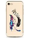 Pour apple iphone 7 7 plus 6s 6 plus housses de couverture plumes motif peint haute penetration tpu materiel etui souple etui pour