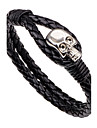 Men\'s Leather Bracelet Fashion Vintage Punk Hip-Hop Rock Costume Jewelry Leather Alloy Circle Round Geometric Skull / Skeleton Jewelry For