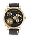 JUBAOLI Муж. Модные часы Уникальный творческий часы Китайский Кварцевый Календарь С тремя часовыми поясами Крупный циферблат Кожа Группа