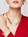 Women\'s Jewelry Set Statement Necklaces Bracelet Earrings Ring Jewelry Gold Plated 18K gold Fashion Statement Jewelry Golden Jewelry For