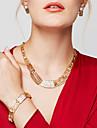 Femme Set de Bijoux Colliers Declaration Bracelet Boucles d\'Oreille Bague Bijoux Plaque or 18K or Mode Bijoux Fantaisie Dore Bijoux Pour