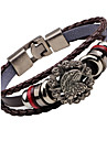 Men\'s Leather Bracelet Fashion Vintage Stainless Steel Alloy Anchor Eagle Jewelry For Club Street