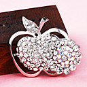 Silver Plated Full Rhinestone Apple Brooch