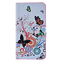 Butterflies and Circles Pattern Full Body Case with Card Slot and Built-in Matte PC Back Cover for iPhone 4/4S