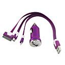 3 в 1, 8-контактный, 30 Pin и Micro USB 5 Pin Noodle кабель с Автомобильное зарядное устройство для iPhone и Samsung