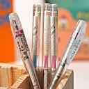Transparent Reminiscnce Newspaper Needle Tubing Plastic Black Ink Gel Pen(Random Color)