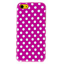 White Round Dots Pattern Matte Polished PC Detachable Back Case with Bumper Frame for iPhone 5C (Assorted Colors)