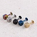 Lureme®316L Surgical Titanium Steel 4mm Square Single Stud Earrings (Random Color)