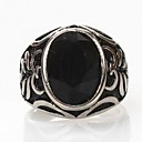 Z&X®  Men's Fashion And Personality Black Stone Titanium Steel Ring