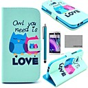 COCO FUN® Fall in Love Owl Pattern PU Leather Full Body Case with Screen Protector, Stylus and Stand for HTC One M8