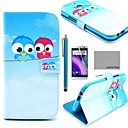 COCO FUN® Cute lovely Owl Pattern PU Leather Full Body Case with Screen Protector, Stylus and Stand for HTC One M8