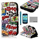 COCO FUN® Boom Graffiti Pattern PU Leather Case with Screen Protector and Stylus for Samsung Galaxy S3 mini I8190