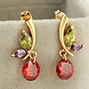 Women's New Gold Plated Hot Selling Delicate Round Zircon Earrings