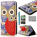 COCO FUN® Deer Flower Owl Pattern PU Leather Full Body Case with Screen Protector, Stylus and Stand for HTC One M8