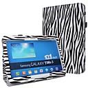 Fashion Zebra-Stripe PU Leather Full Body Case with Strap and Sticker for Samsung Galaxy Tab 3 10.1 P5200