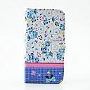 Голубые цветы шаблон PU кожаный чехол для всего тела с подставкой и алмазов для LG G2