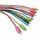 0.3M 1FT плетеной ткани Micro USB 2.0 зарядное устройство кабель для Samsung Galaxy Примечание 3 S3 / S4 (ассорти цветов)