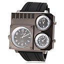 Мужская трех часовых поясах силиконовой лентой кварцевые наручные часы (разных цветов)