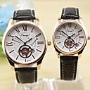 Круглый циферблат Кожаный ремешок пары моды Кварцевые часы (разных цветов)