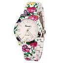 Женская Цветочный печати сплава группы Кварцевые аналоговые наручные часы