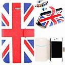 Британский флаг шаблон PU Полный чехол тело с пыле Разъем для iPhone 4 / 4S