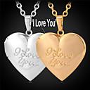 U7 I Love You Фото с плавающей подвеска медальон Ожерелье 18K позолоченные ожерелье для женщин или мужчин ювелирные изделия