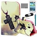 COCO FUN крест ожерелье Pattern PU кожаный чехол с кино и USB-кабель и стилус для Samsung Galaxy S3 мини I8190