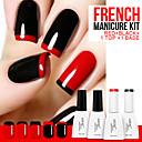 Лазурный 4шт / Лот УФ Цвет Гель для маникюра Лак для ногтей Kit (12ml, BlackRedBaseTop)