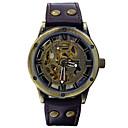 Мужская Автоматическая механические часы Кожа Vogue Авто самообслуживания Ветер Спорт Часы Скелет Watche (разных цветов)