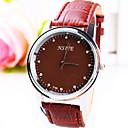 Мужская Бизнес Простой круглый бриллиант Наберите PC Движение кожаный ремешок Мода кварцевые часы (разных цветов)