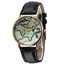 Краткое Карта Круглый циферблат Кожаный ремешок Unisex Кварцевые аналоговые наручные часы Мода (ассорти цветов)