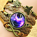 Galaxy DIY Butterfly Gem Handmade Twine Brown Leather Warp Bracelet(1 Pc)