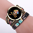 Damenmode Armbanduhr abstraktes Muster gewebt Quarz-Armbanduhr (farbig sortiert)