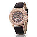Ladies' Wrist Watch The New Double-Diamond Rose Gold Dial Geneva PU Band Quartz Watch(Assorted Colors)
