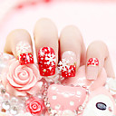 24pcs/set Fake Nails False Nail Finished Manicure Nails Tips Red Snow