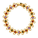Luxury Crystal Africa Jewelry 18k Gold Plated Mix Color Cubic Zirconia Bracelet for Women Wedding Jewelry Gifts B40163
