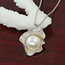 pingente de pérola shell de prata das mulheres