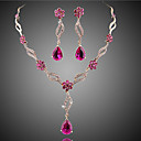 May Polly Europe and the United States fashion crystal necklace earrings Wedding Jewelry Set
