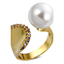 Women Fashion Cocktails Rings Mermaid Style Synthetic Pearl Zircon Gold-color Femmes Anneaux