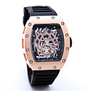 Men's Skeleton Watch Fashion Watch Quartz Leather Band Skull Black